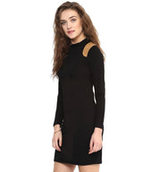 Solid Black Cotton Bodycon Dress