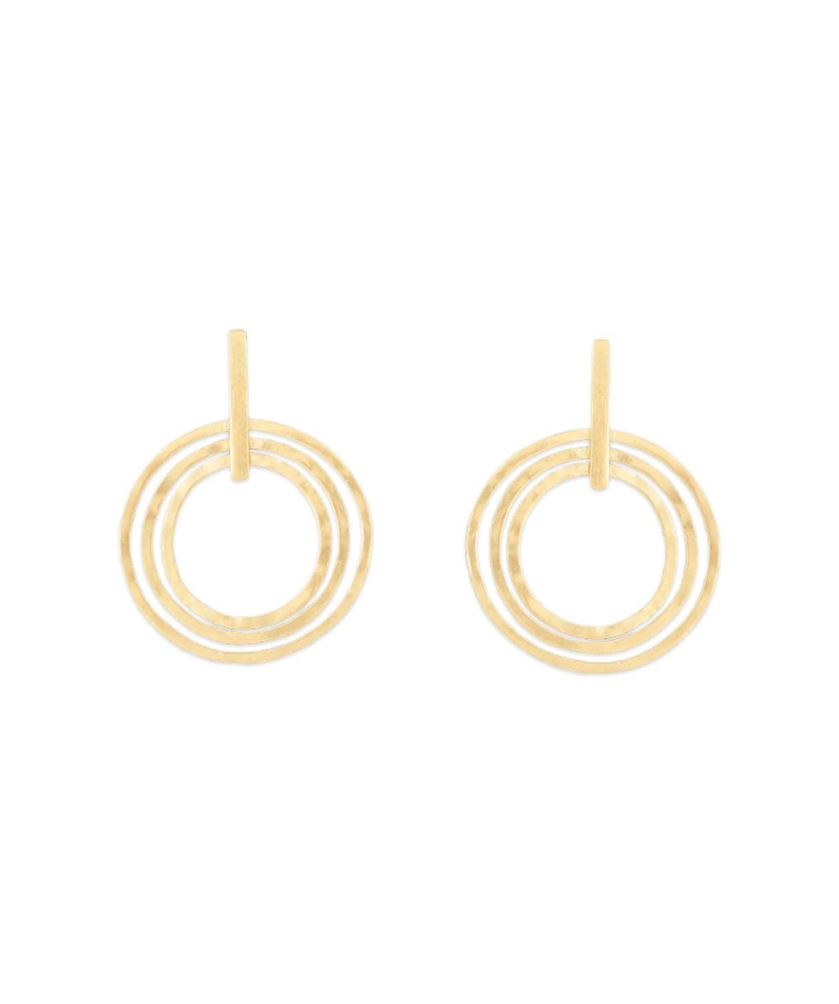Tri Circle Gold  Earrings - Uptownie