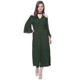 Green Choker Neck Cold Shoulder Culotte Jumpsuit. BUY 1 GET 3