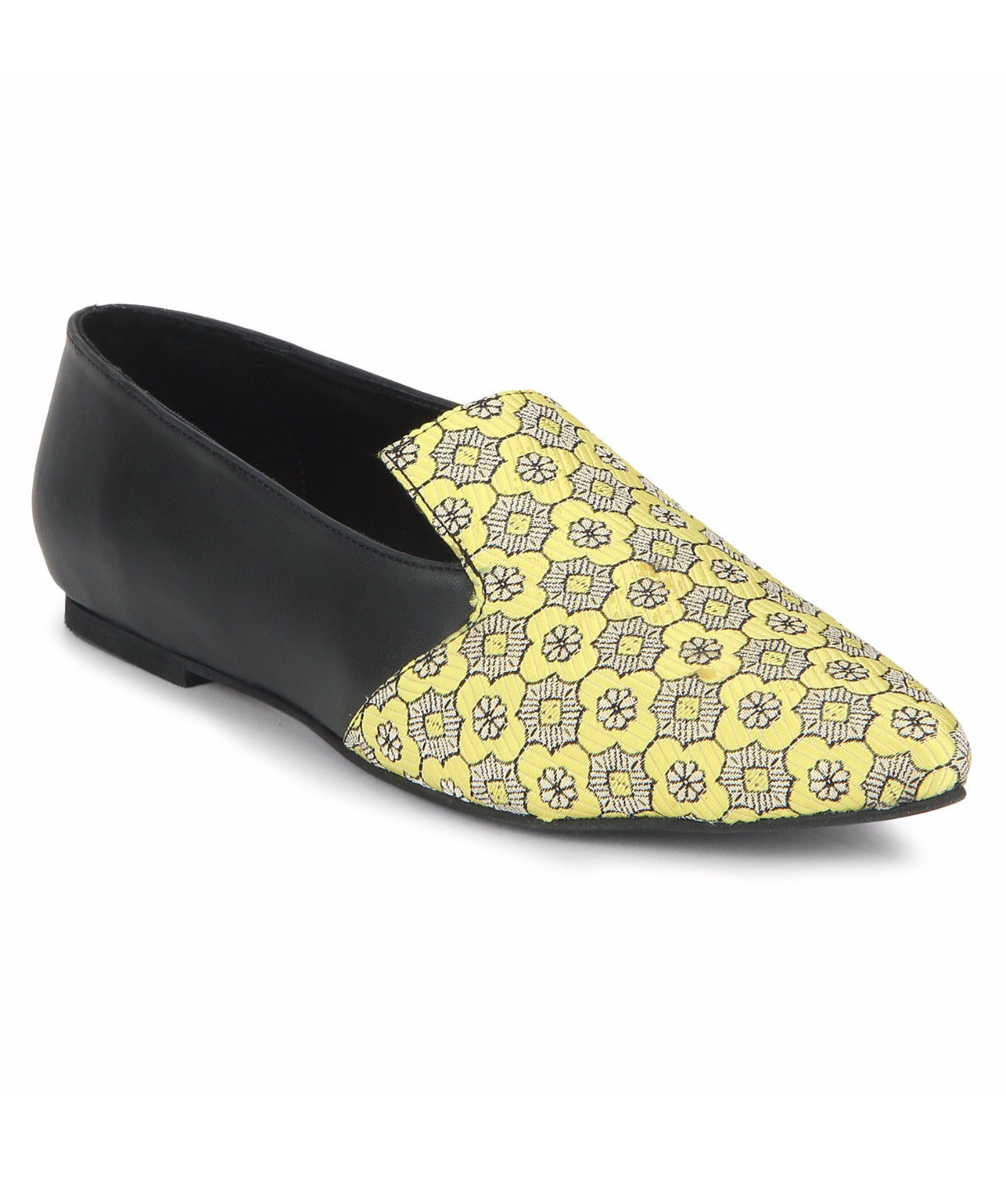 Uptownie X Bootico-Black With Yellow Pointed Ballerina - Uptownie