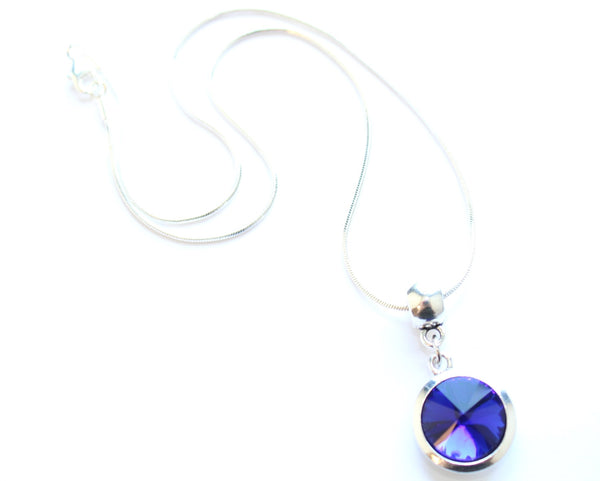 Silver Plated 'September Birthstone' Sapphire Coloured Crystal Pendant Necklace