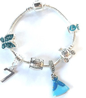 blue princess jewellery, princess bracelet, 7th birthday gifts girl and charm bracelet gifts for 7 year old girl