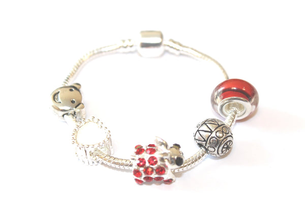 Children's Red 'Easter Bunny Dream' Silver Plated Charm Bead Bracelet