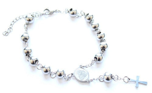 Silver Coloured Catholic Rosary/Prayer Bead Bracelet