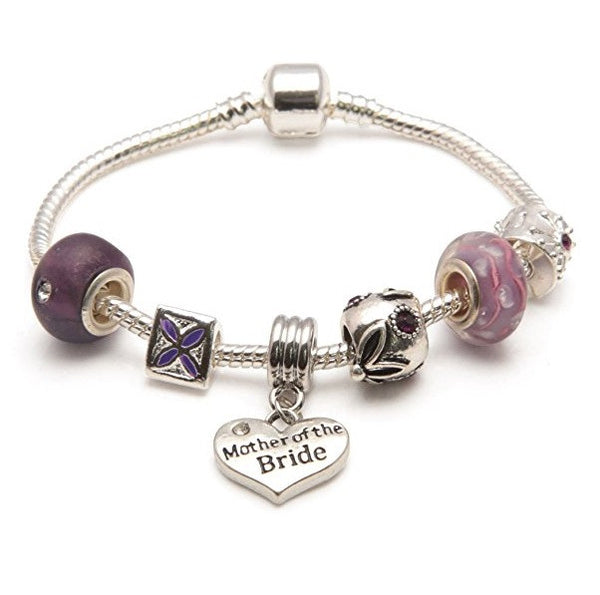 Mother Of The Bride 'Purple Haze' Silver Plated Charm Bead Bracelet