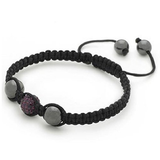 Designer Inspired 'Struve' Purple Czech Crystal Disco Ball Shamballa Bracelet