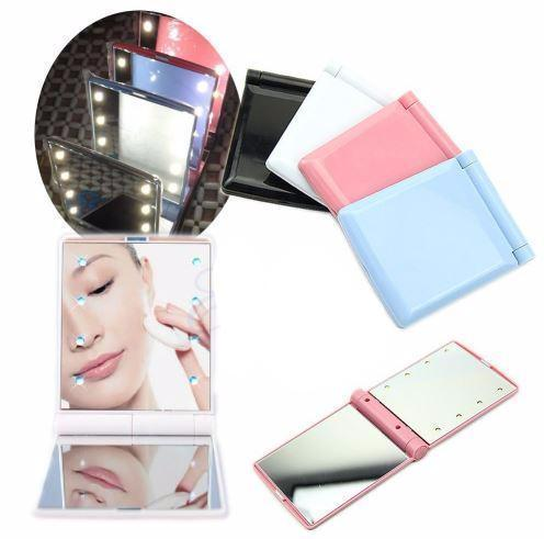 LED makeup mirror for travel