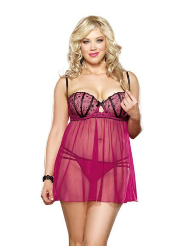 Pink Underwired Plus Size Babydoll Set - The Pantie Purse