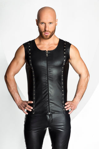 Noir Handmade Mens Black Wetlook Zip Up Vest. - The Pantie Purse