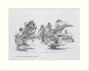 A Long Tale (Alice in Wonderland) original pencil drawing by Rodney Matthews