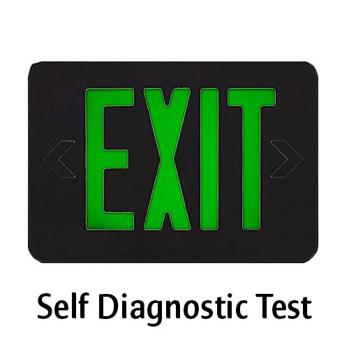Self Diagnostic Test Exit Sign, Green Lettering