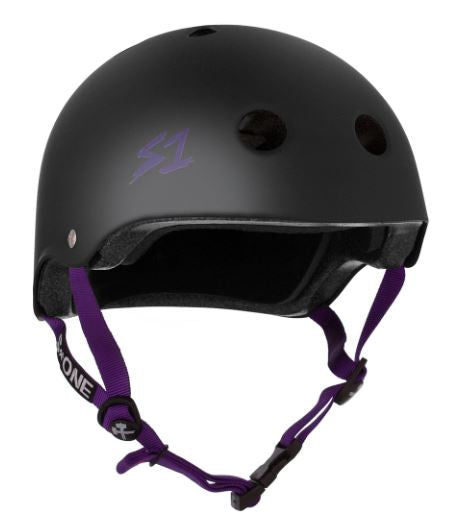 S1 Lifer Helmet Black Matte with Purple Straps
