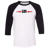 CrossFit Iron Dust - 202 - Lift - Bella + Canvas - Men's Three-Quarter Sleeve Baseball T-Shirt