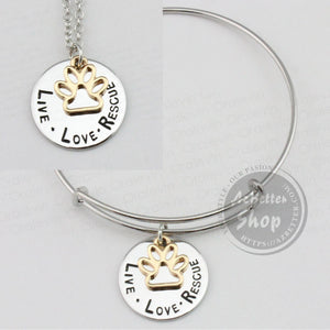 LIVE LOVE RESCUE Paw Print Charm Necklace