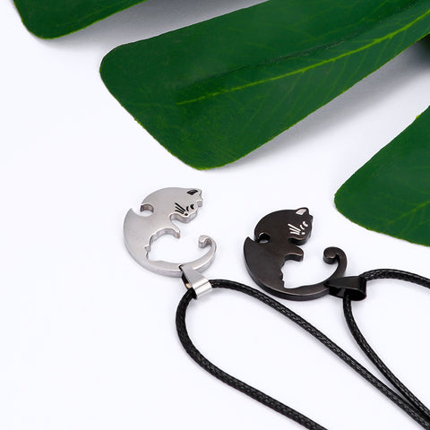 Image of Best Gift for Cat Lover Couples - Couples Jewelry - Cat Lover Necklace - Two Piece Necklace For Couples