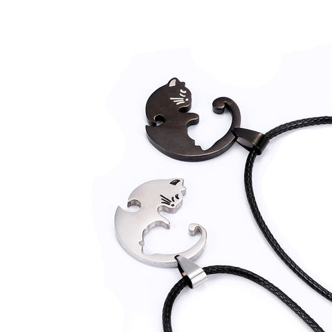 Best Gift for Cat Lover Couples - Couples Jewelry - Cat Lover Necklace - Two Piece Necklace For Couples