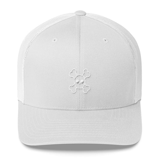 Rounded Skull and Crossbones Embroidered Trucker Cap