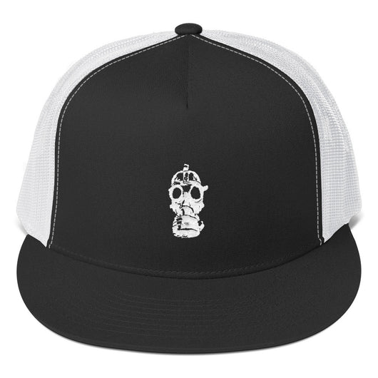 Gas Mask White Embroidered Trucker Cap