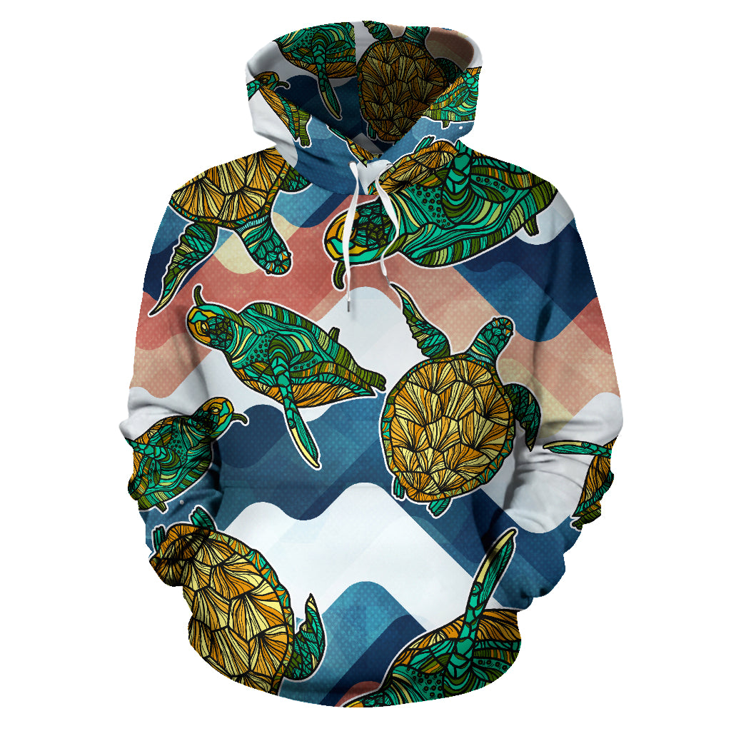 Turtle Pattern All Over Hoodie