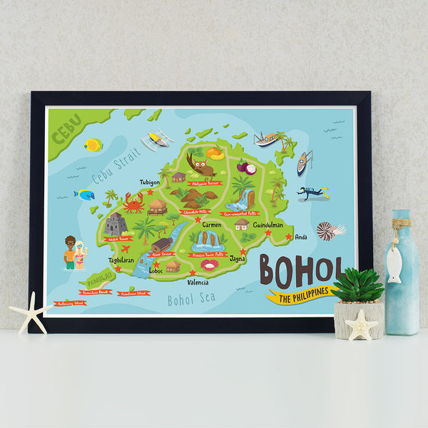 art travel poster bohol island map philippines alona beach pinoy chocolate hills  Philippines gift
