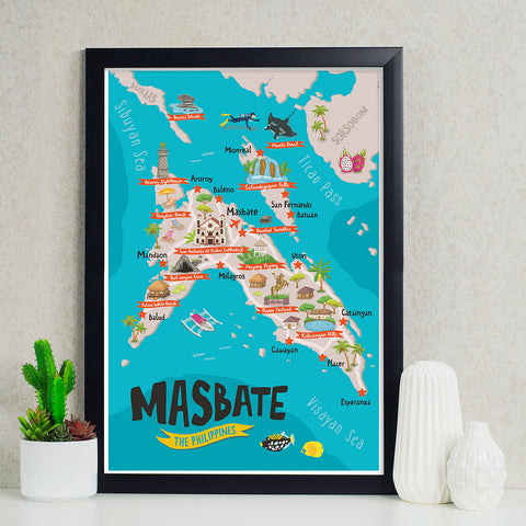 Masbate Illustrated Map Poster Philippine