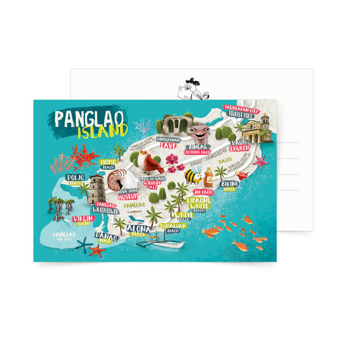 illustrated art postcard pangalo island map philippines Philippine