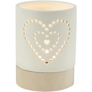 Porcelain and Wood Heart Votive