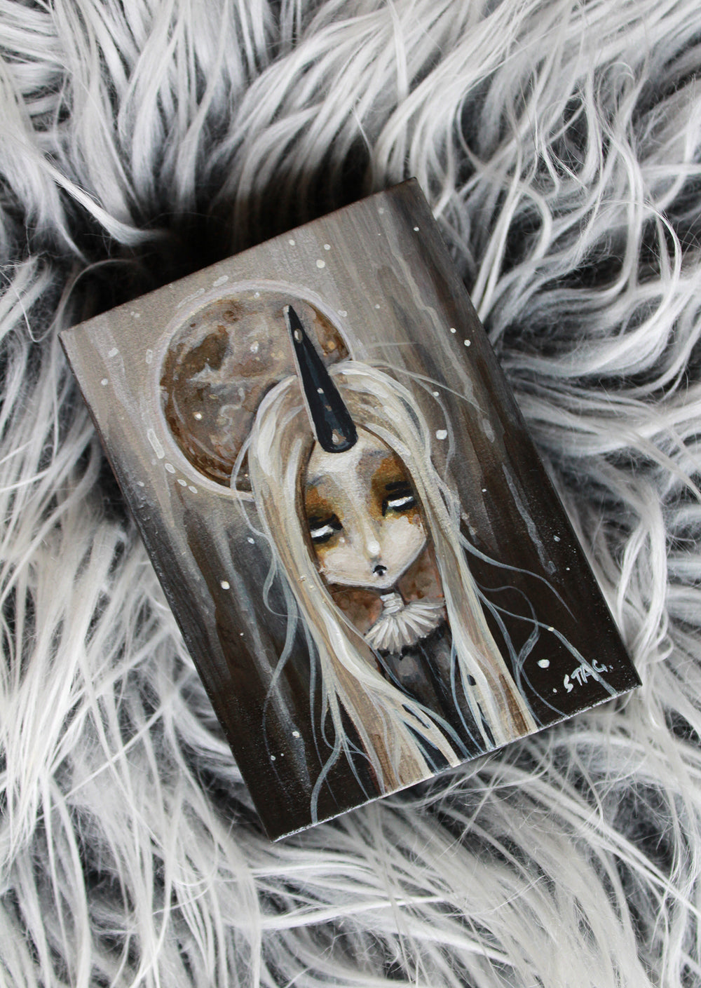 Frosted Moon 7 Original mini painting -Lowbrow misfits White Stag Art
