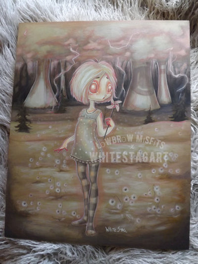 Nuclear Forest- Original lowbrow Painting -Lowbrow misfits White Stag Art
