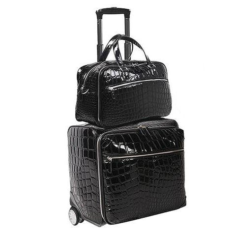 OUUL BLACK ALLIGATOR ROLLER LUGGAGE SET WITH DUFFLE BAG