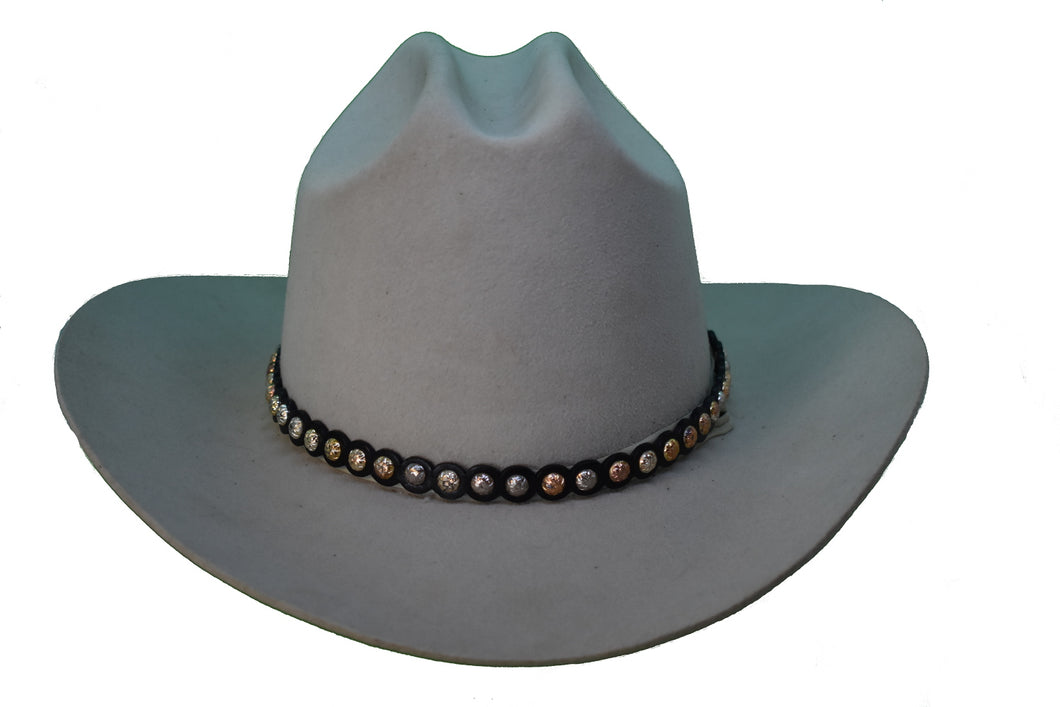 Studded Black Leather Hat Band