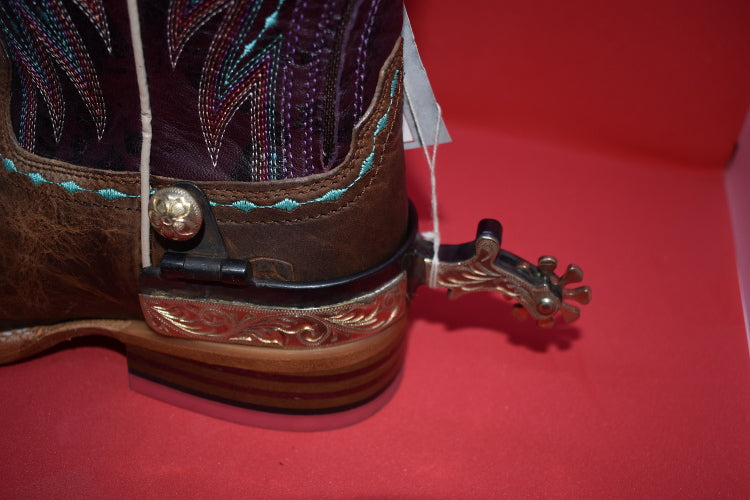 JT's Womens Roping Spurs with Silver Scroll