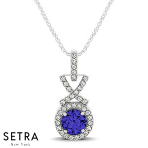 14K Gold Round Cut Diamonds & Sapphire In Halo Setting X Style Necklace