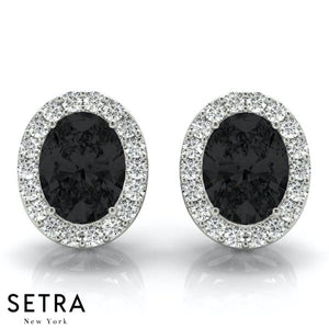 BLACK & WHITE OVAL SHAP DIAMONDS HALO STUD EARRING 14K GOLD
