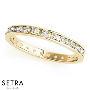14K FINE GOLD ROUND CUT DIAMONDS CHANNEL SET ETERNITY WEDDING BAND RINGS