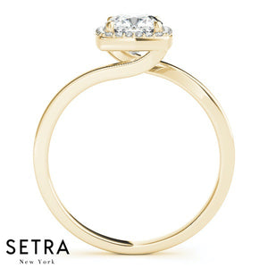 BYPASS 14K GOLD DIAMONDS ENGAGEMENT RINGS HALO FOR SQUARE & CUSHION