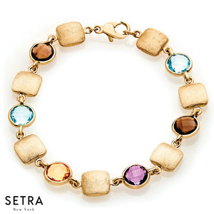 FINE DESIGNER 14K YELLOW MULTI COLOR GEM STONES BRACELET