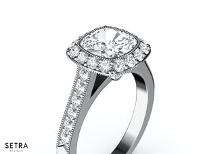 PRONG-SET HALO DIAMOND ENGAGEMENT RING 14K GOLD