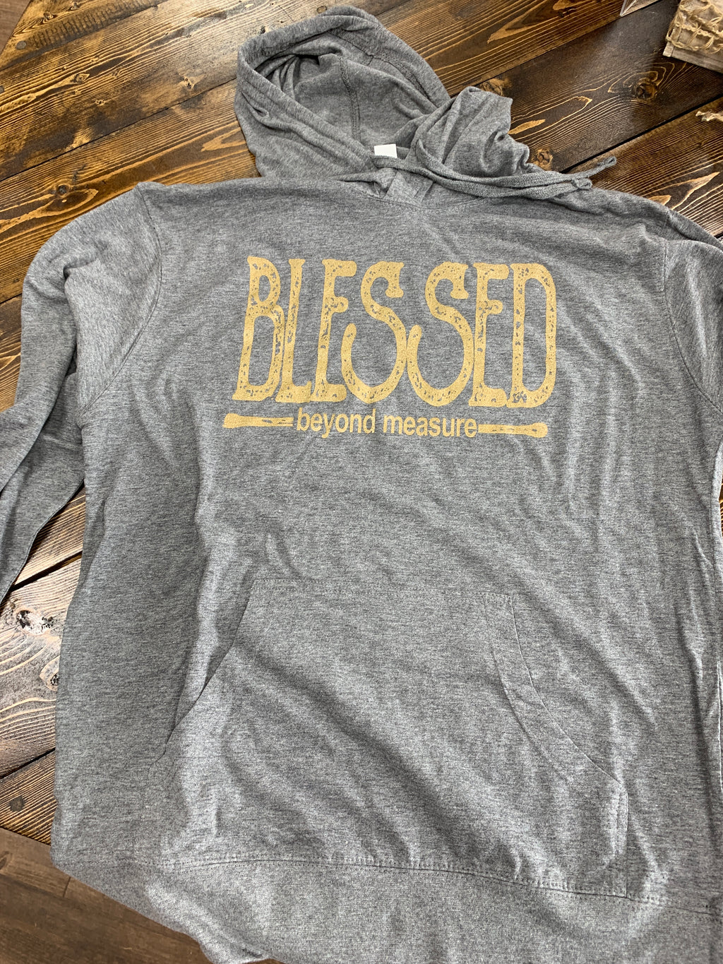 Light gray Long sleeved Bella T w/Blessed logo in gold - L