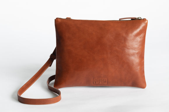 The Crossbody Clutch | Tan Crossbody Clutch | Albert Tusk Leather Goods Online