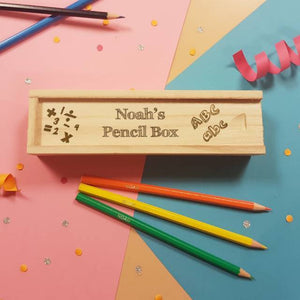Personalised Back to School Wooden Box Sliding Lid Pencil Case & 12 Personalised Pencils - stamptastic-uk