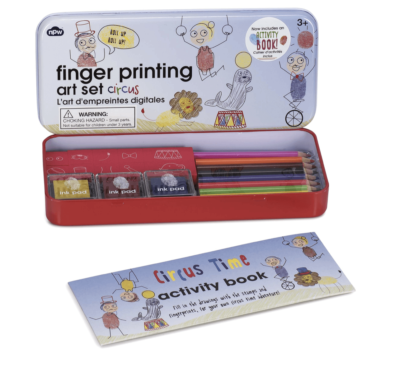 Fingerprinting tins with booklets - Circus - stamptastic-uk