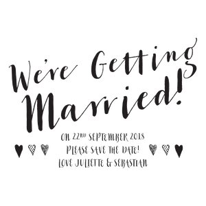 "Calligraphy ""We're getting Married"" Diagonal with hearts - stamptastic-uk"
