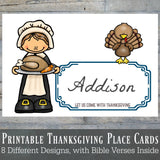 First Thanksgiving Printable Place Cards