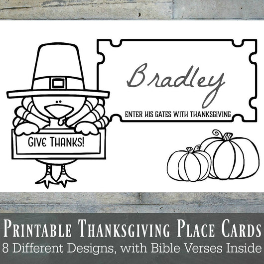 Printable Thanksgiving Place Cards,