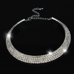 1 2 3 4 5 Row Rhinestone Choker Necklaces