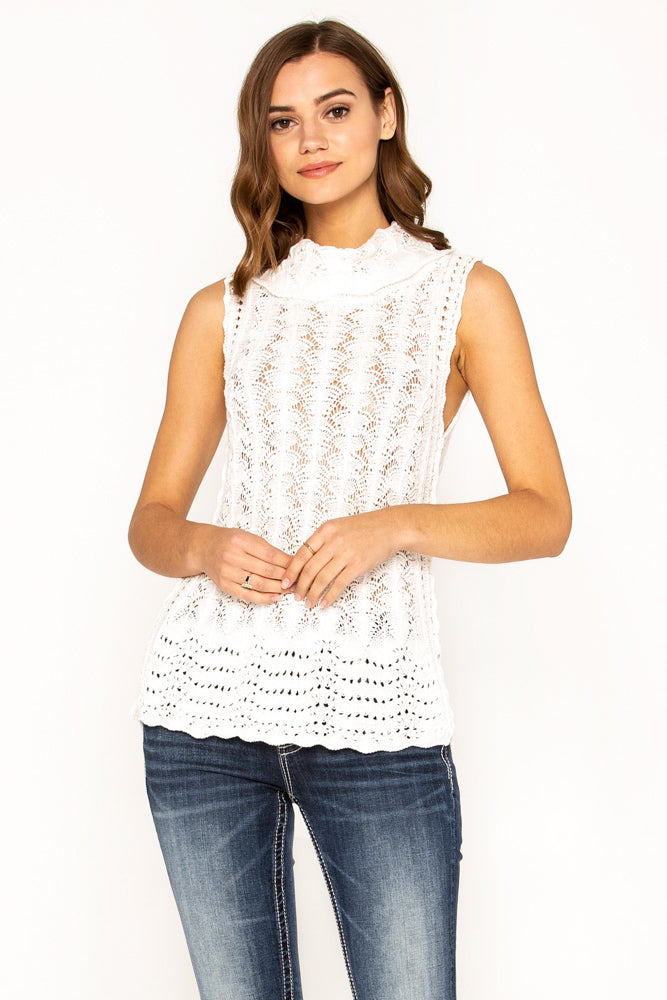Crochet Lace Turtleneck Sleeveless Sweater