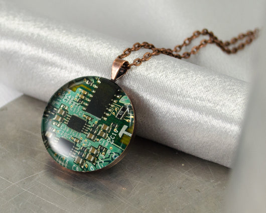 mint green circuit board necklace in copper