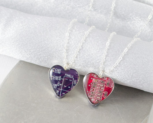 Circuit Board Heart Necklace - Sterling Silver Heart