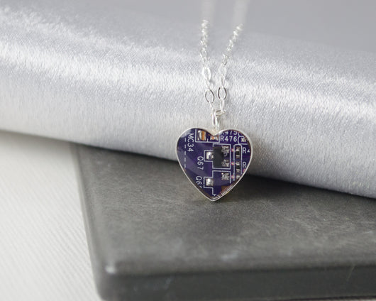 tiny purple circuit board heart necklace